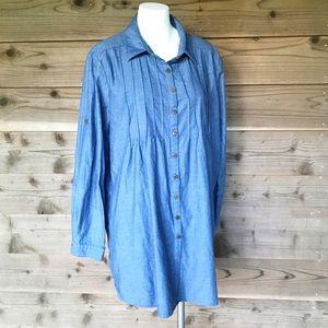 WD-NY Denim Pintuck 100% Cotton Tunic Sz XL